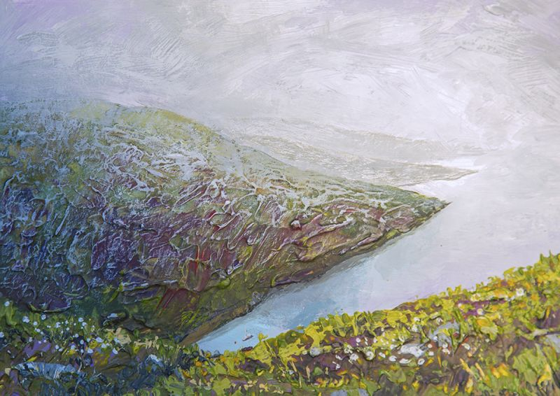 Renigadale in mist. Isle of Harris. Artist Paul Hillary