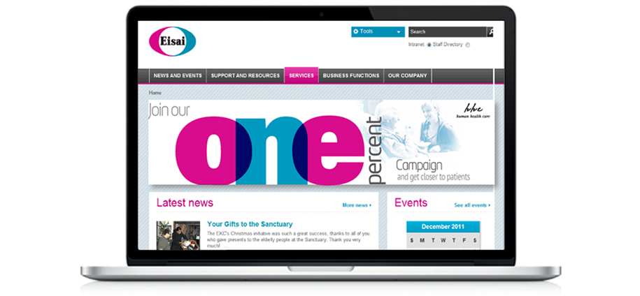 One % Intranet banner